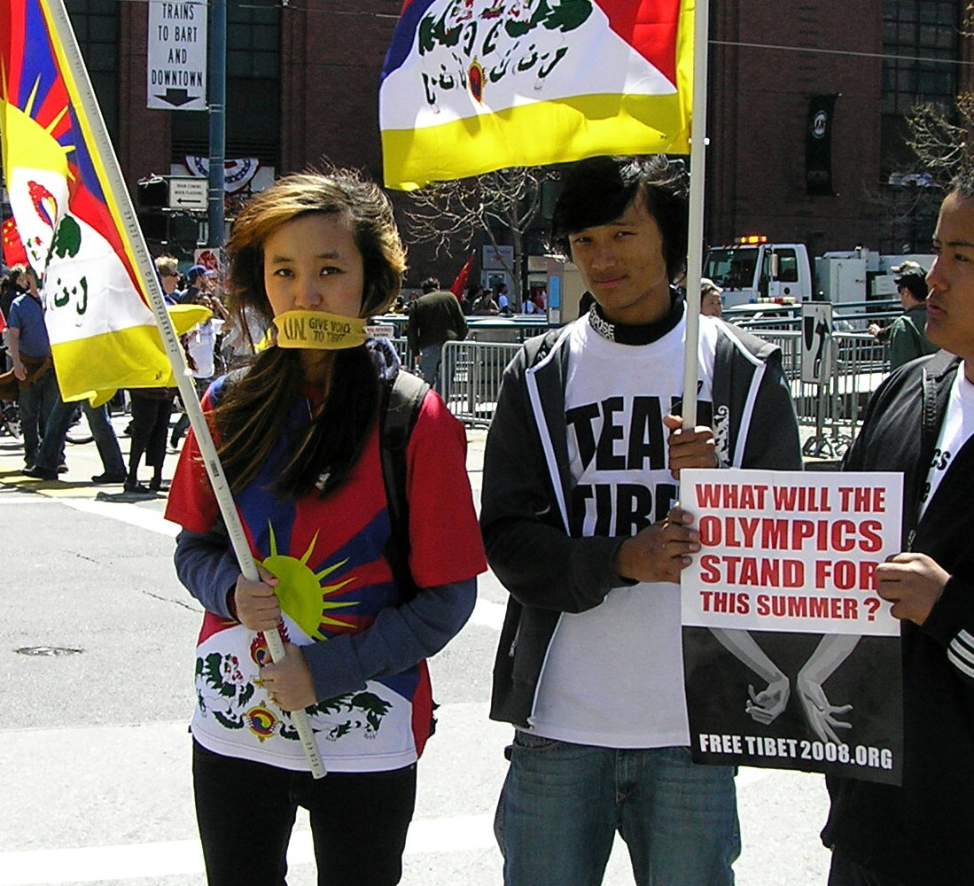 Wednesday, outside the ATT Park, the haughting look of these young Pro-Tibet people staid with me a long time